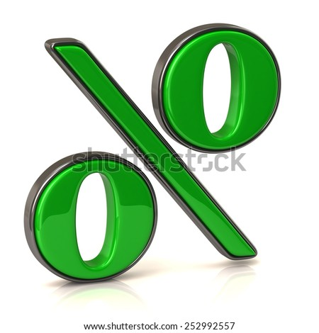 Green business percentage sign - stock photo