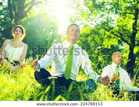 Green business team. - stock photo