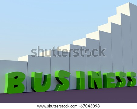 green business word stand along with building blocks - stock photo