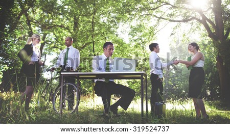 Green Business Working Business People Outdoors Concept - stock photo