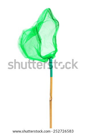 green butterfly net on a white background - stock photo
