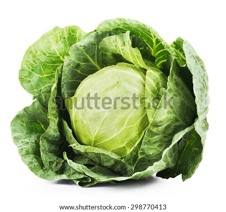 Green cabbage isolated on white background. Clipping Path - stock photo