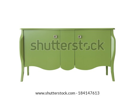 Green cabinet isolated on white - stock photo
