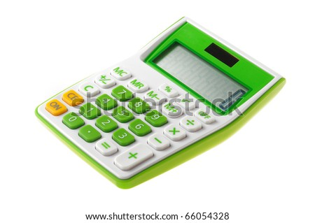 green calculator power on isolate on white - stock photo