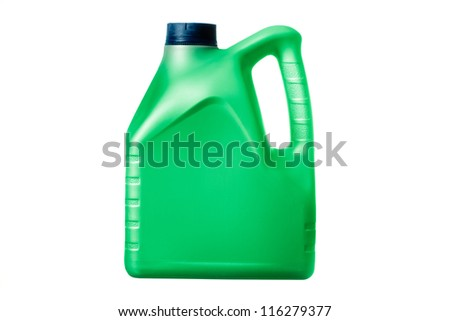 green canister with machine oil on white background - stock photo
