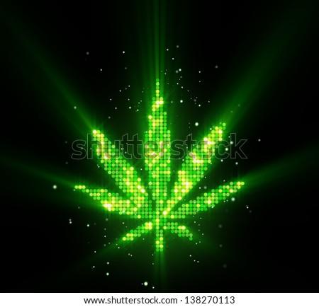 green cannabis leaf shape - stock photo