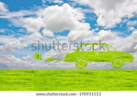 Green Car symbol from grass background, isolated on white. - stock photo