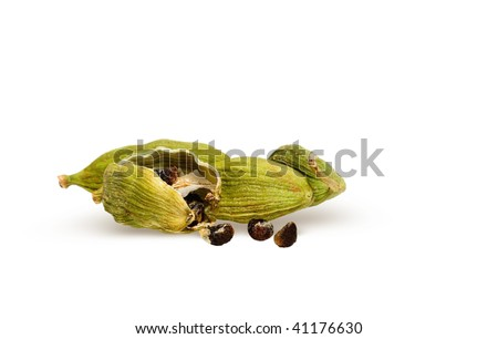 Green cardamon pods with cardamom seeds isolate on white background. Indian aroma spices of masala tea ingredient. - stock photo