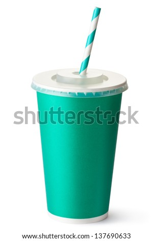 Green cardboard cup with a straw. Isolated on a white. - stock photo