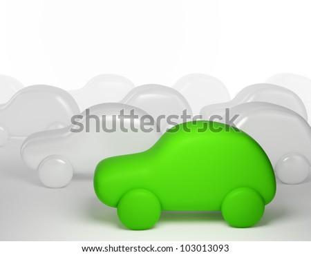 Green cartoon car - eco transport concept - stock photo