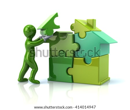 Green cartoon man builds a puzzle house isolated on white background - stock photo