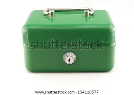 green cash box on white background - stock photo