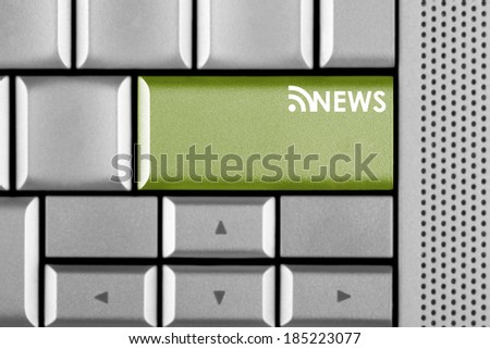 Green Cash key on a computer keyboard with  - stock photo