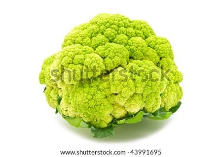 green cauliflower on white background - stock photo