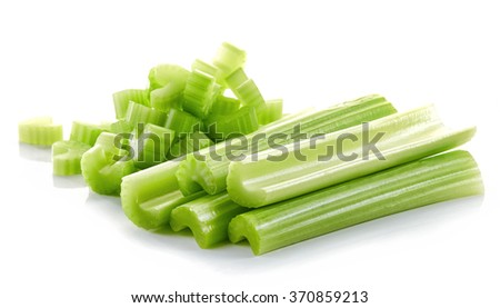 green celery sticks isolated on white background - stock photo