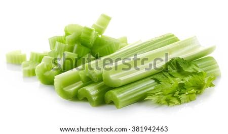 green celery sticks isolated on white background - stock photo