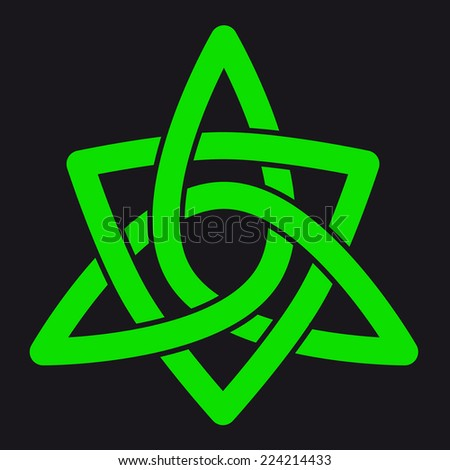 Green celtic pattern with black outline - stock photo