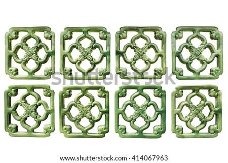 Green ceramic block on the white background. - stock photo