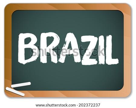 Green Chalk Blackboard Brazil - stock photo