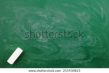 Green chalkboard, blank school board background with white chalk - stock photo