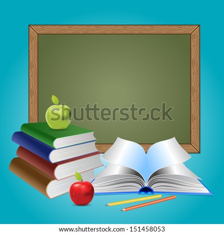 Green chalkboard, books and apples on blue background. - stock photo