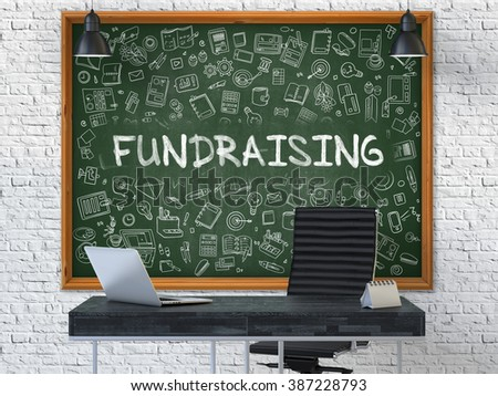Green Chalkboard on the White Brick Wall in the Interior of a Modern Office with Hand Drawn Fundraising. Business Concept with Doodle Style Elements. 3D. - stock photo
