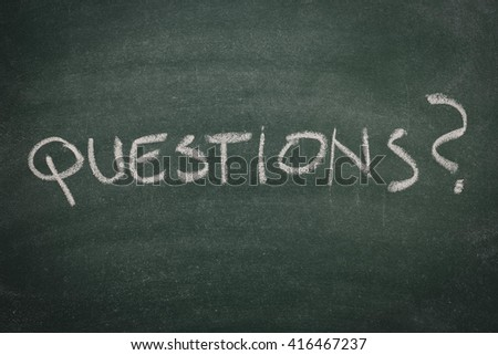 Green Chalkboard questions - stock photo