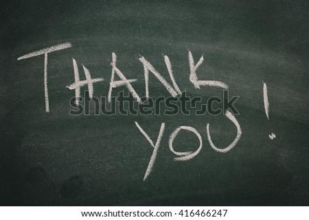 Green Chalkboard thank you - stock photo