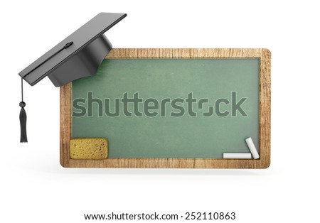 Green Chalkboard with Graduation Cap, chalk and sponge isolated. 3d illustration - stock photo