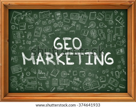 Green Chalkboard with Hand Drawn Geo Marketing with Doodle Icons Around. Line Style Illustration. 3d Render. - stock photo