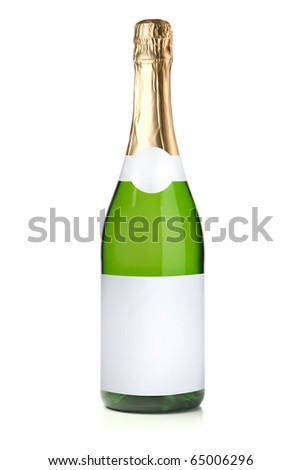 Green champagne bottle. Isolated on white background - stock photo