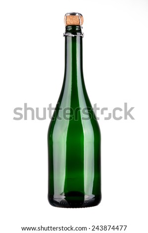 Green champagne bottle with cork isolated on a white background - stock photo