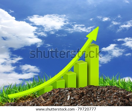 Green chart growing on grass - stock photo