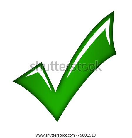 Green check mark - stock photo