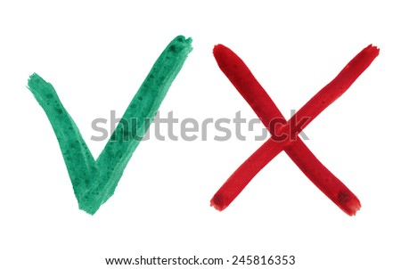 green check mark and red cross located on white background - stock photo