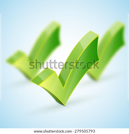 Green check mark set and icon for approved design concept and web graphic on white background. - stock photo