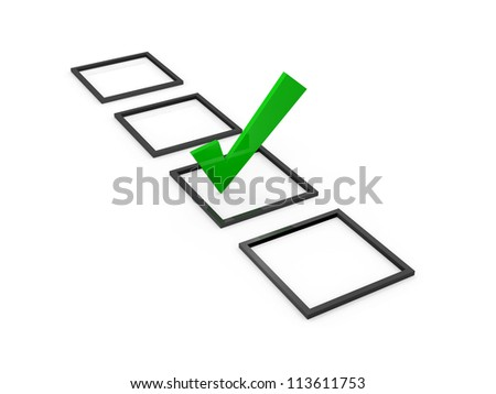 Green check mark sign on list option, isolated on white background. - stock photo