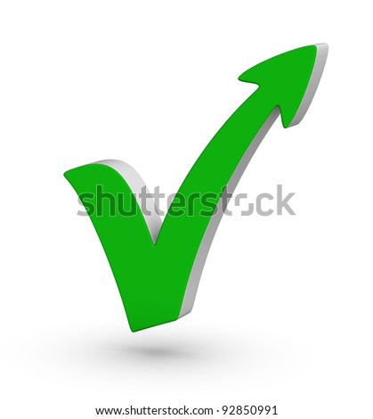 green check mark with arrow on white background - stock photo
