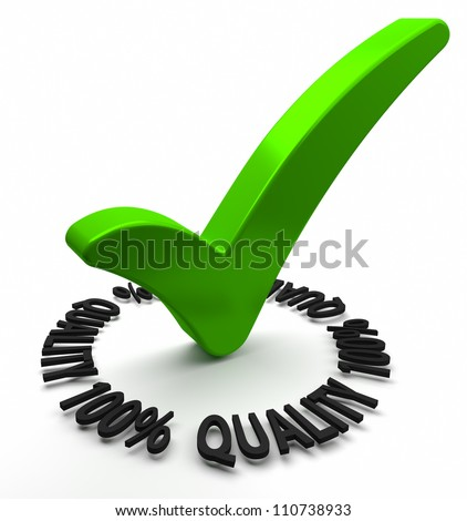 Green check mark with 3D text. Part of a series. - stock photo