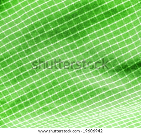 Green checkered picnic textile close up background. More fabrics in my port. - stock photo