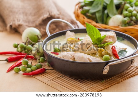 Green Chicken Curry,Thai cuisine - stock photo