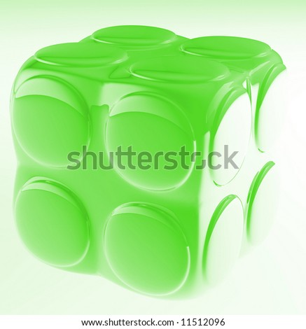 green child's block for games in outdoor on a white background - stock photo