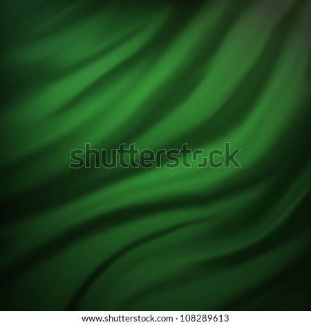 green Christmas background or abstract illustration of wavy flowing green and black folds and dark creases in the smooth satin looking material design with curves texture, ad web background template - stock photo