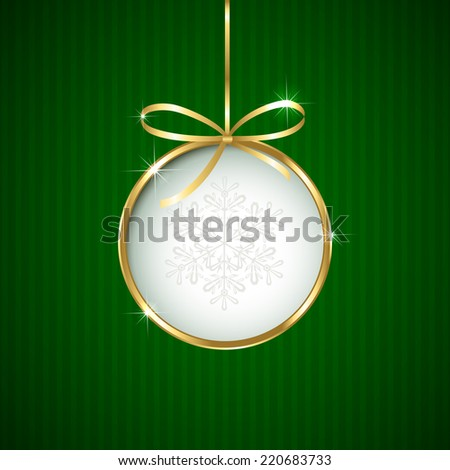 Green Christmas background with ball and golden ribbon, illustration. - stock photo