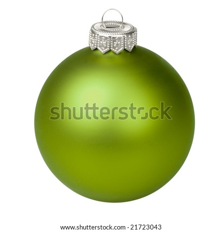 Green Christmas bauble on white background - stock photo