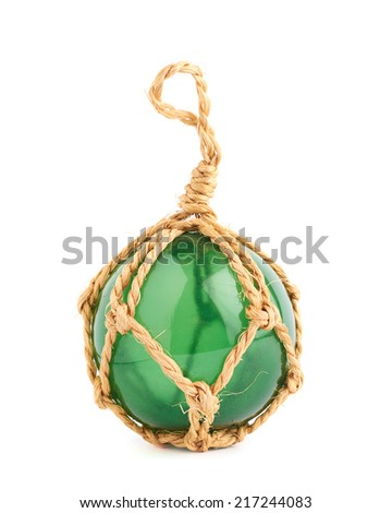Green Christmas decoration ball made of glass and rope, isolated over the white background - stock photo