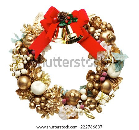 green christmas wreath with decorations isolated on white background - stock photo