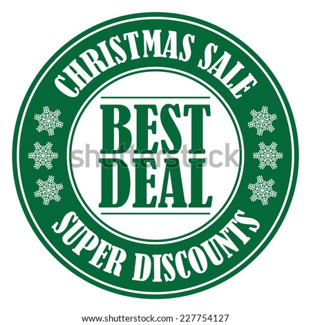 Green Circle Best Deal Christmas Sale Icon, Label or Sticker Isolated on White Background  - stock photo