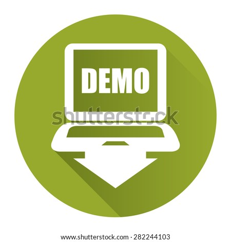 Green Circle Computer Laptop With Demo Text on Screen Monitor Flat Long Shadow Style Icon, Label, Sticker, Sign or Banner Isolated on White Background - stock photo