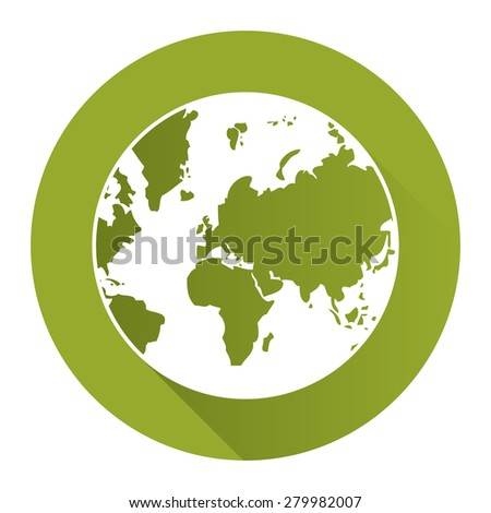 Green Circle Earth Planet Flat Long Shadow Style Icon, Label, Sticker, Sign or Banner Isolated on White Background - stock photo